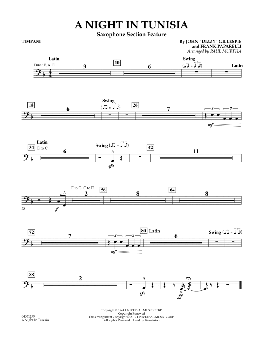 A Night In Tunisia (Saxophone Section Feature) - Timpani