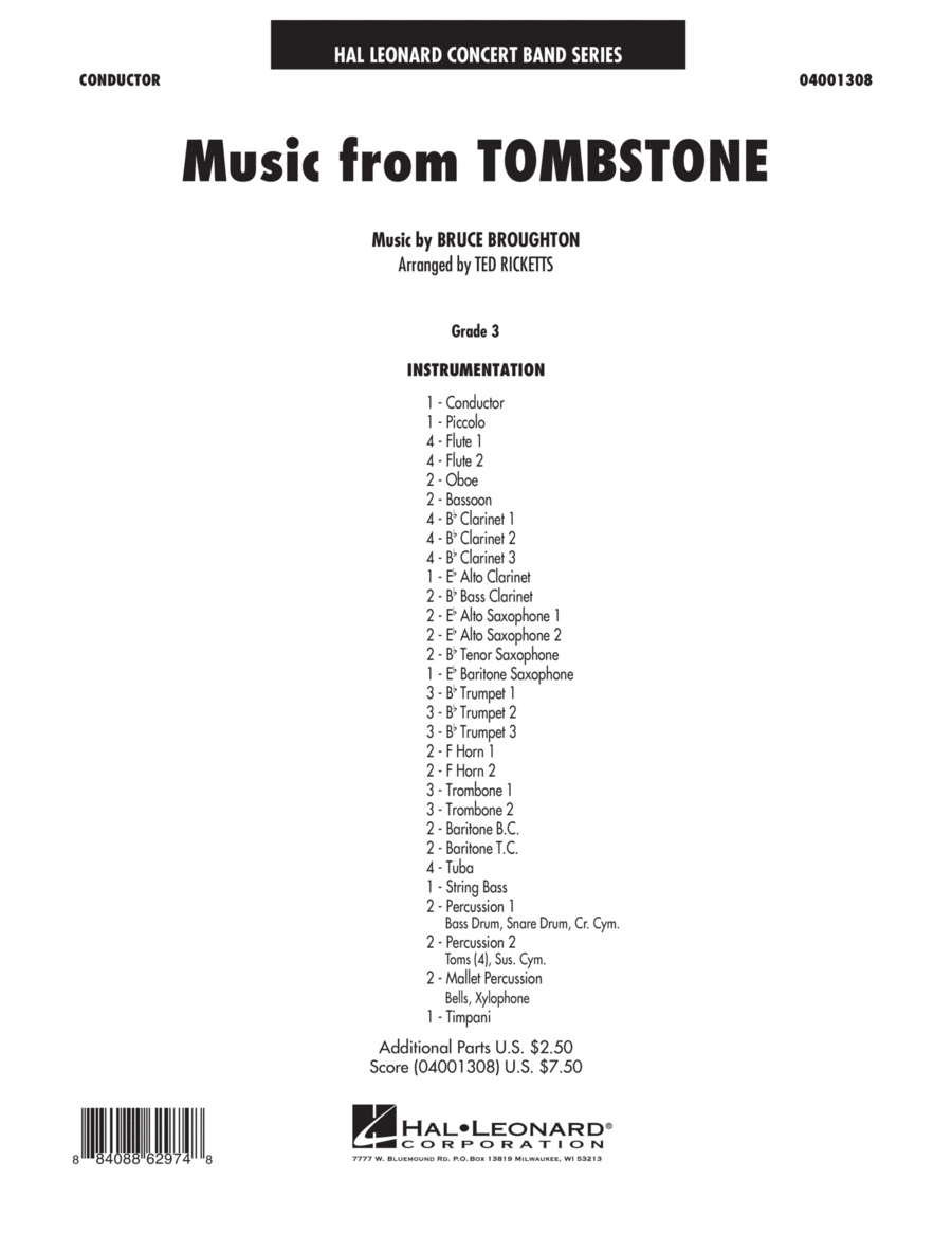 Music From Tombstone - Full Score