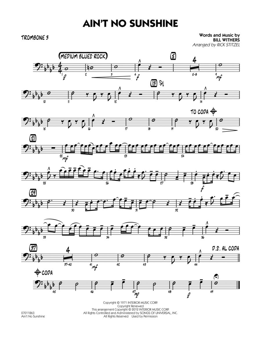 Ain't No Sunshine - Trombone 3