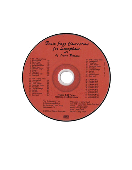 Basic Jazz Conception For Saxophone, Volume 1 - CD only