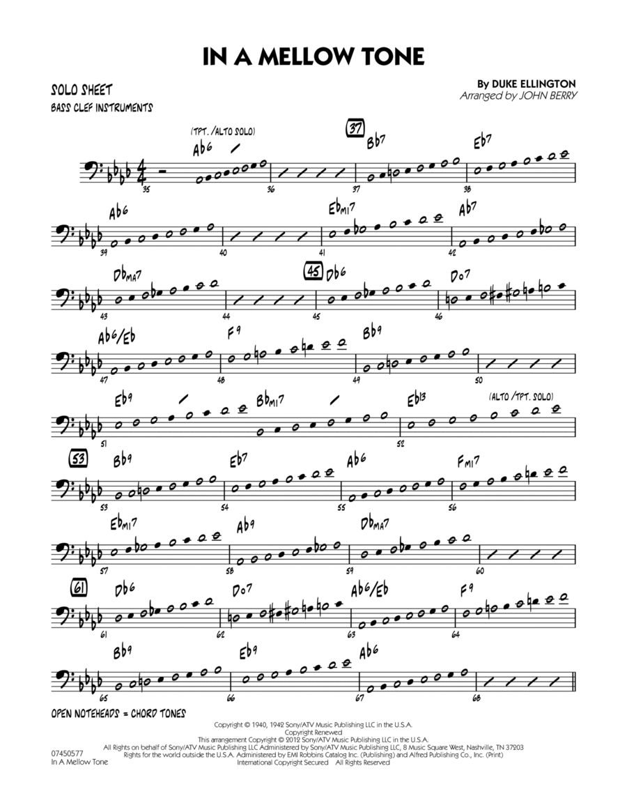 In A Mellow Tone - Bass Clef Solo Sheet
