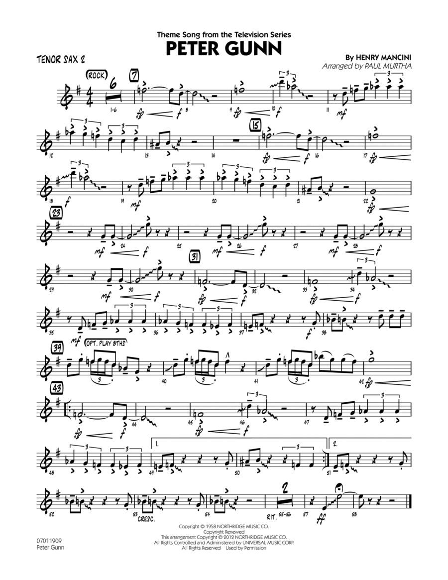 Peter Gunn - Tenor Sax 2
