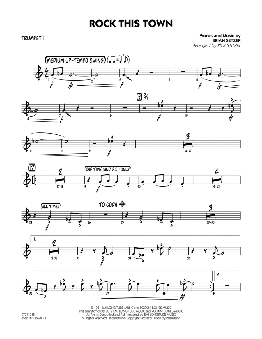 Rock This Town - Trumpet 1