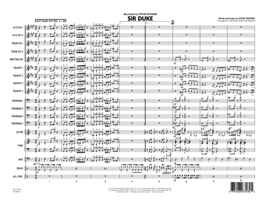 Sir Duke - Conductor Score (Full Score)