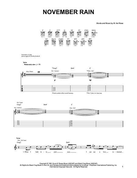 Piano u00bb Piano Tabs November Rain - Music Sheets, Tablature, Chords and Lyrics