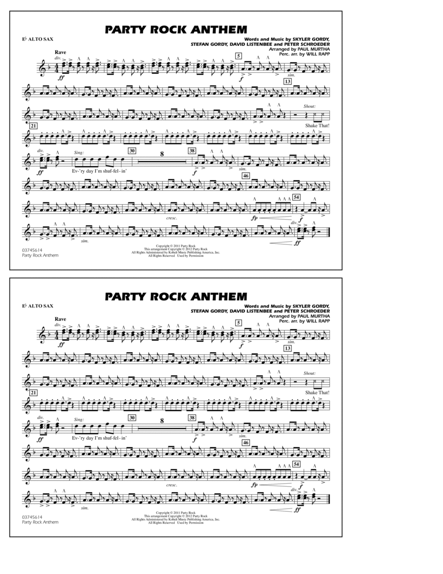 Party Rock Anthem - Eb Alto Sax