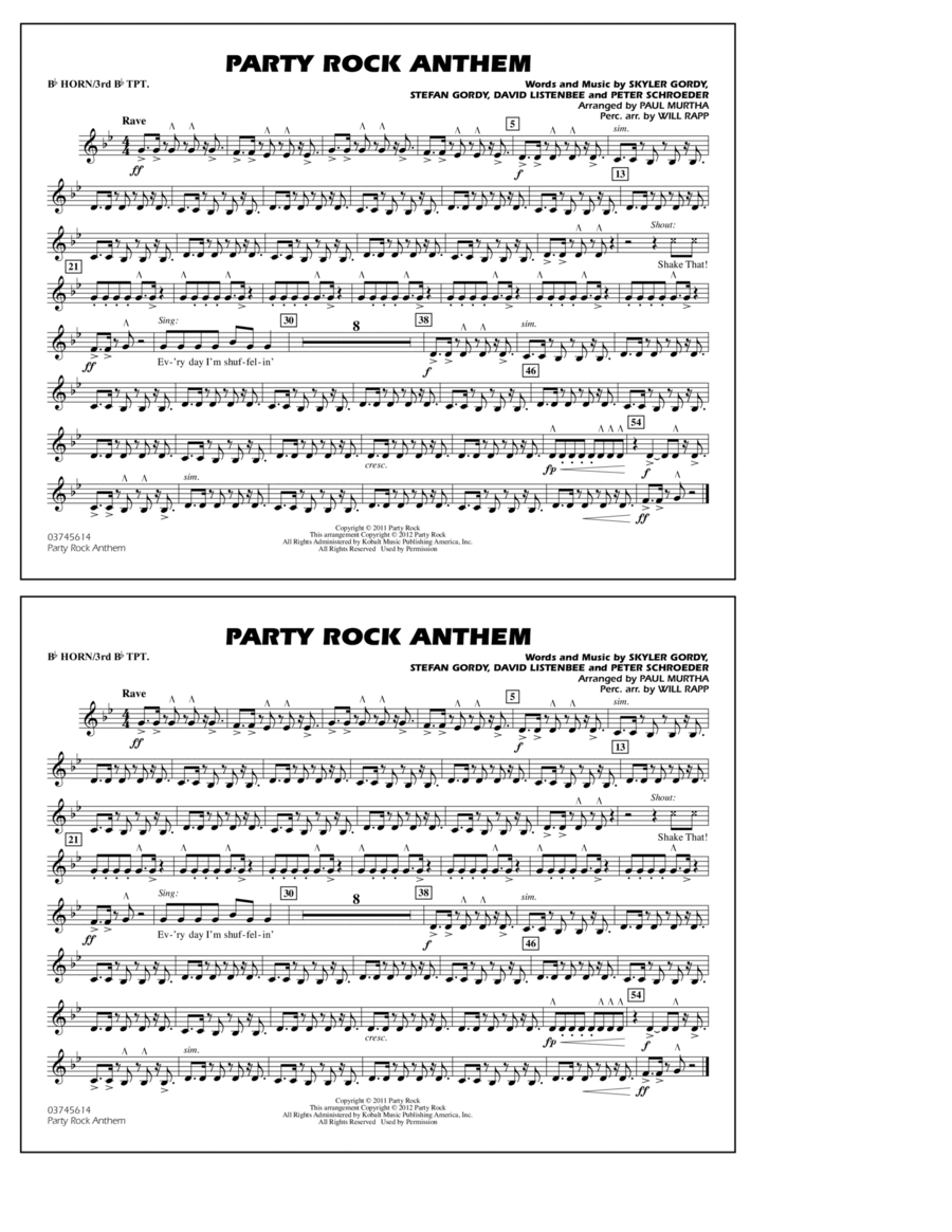 Party Rock Anthem - Bb Horn/3rd Bb Tpt