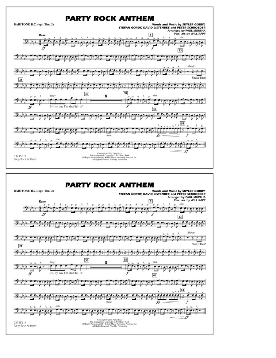Party Rock Anthem - Baritone B.C. (Opt. Tbn. 2)