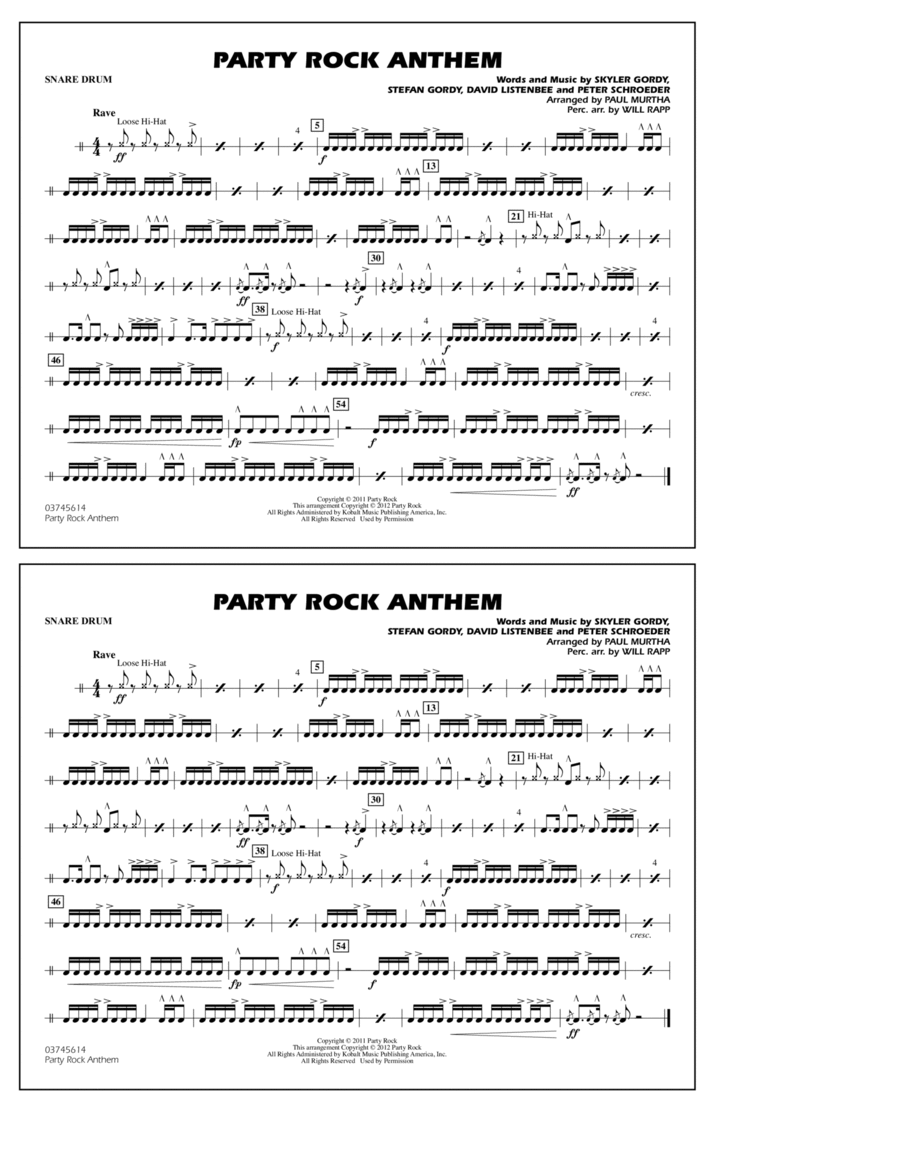 Party Rock Anthem - Snare Drum