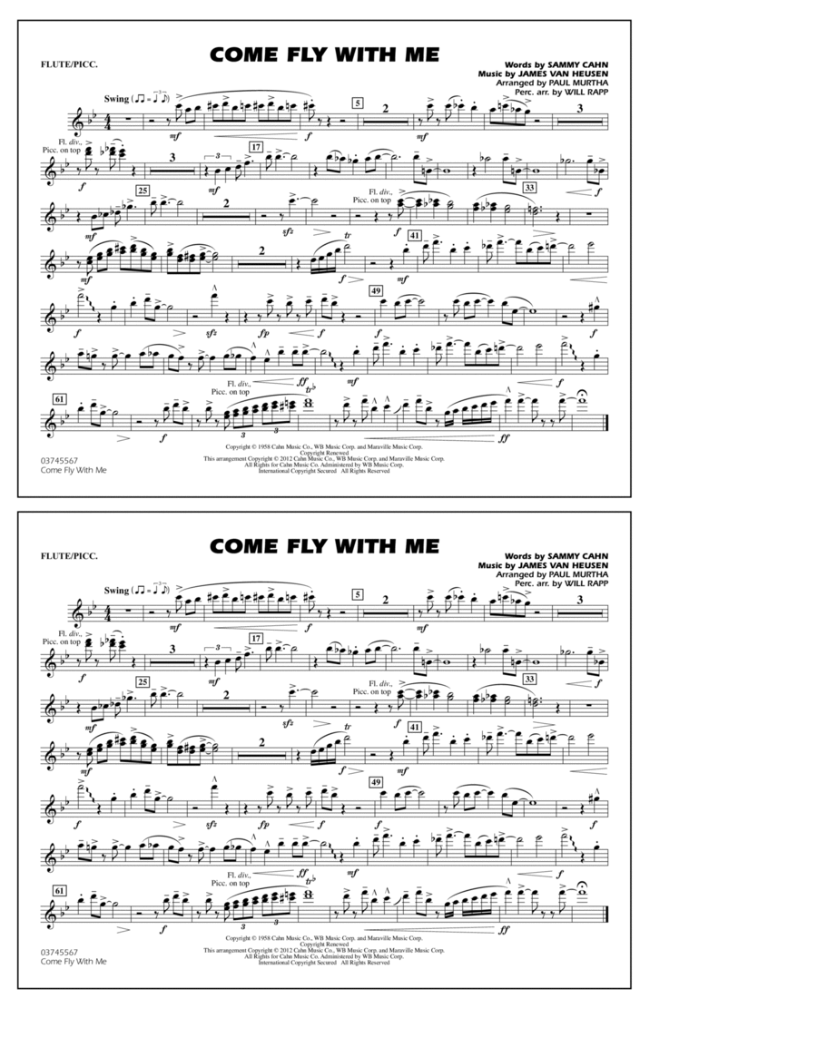 Come Fly With Me - Flute/Piccolo