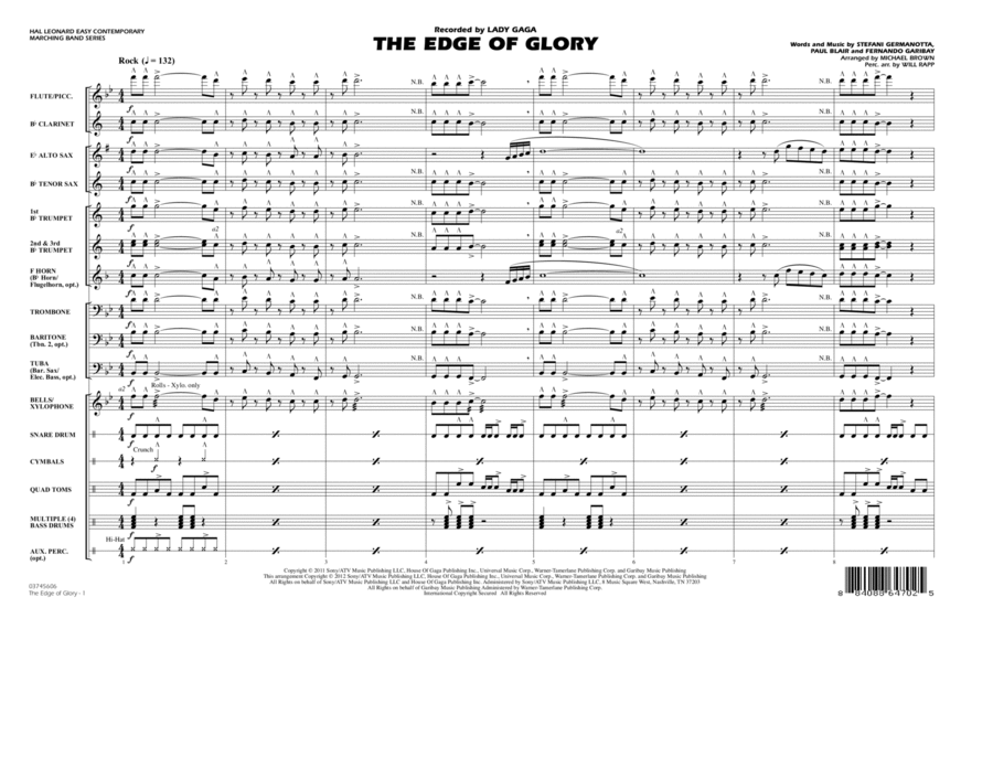 The Edge Of Glory - Full Score