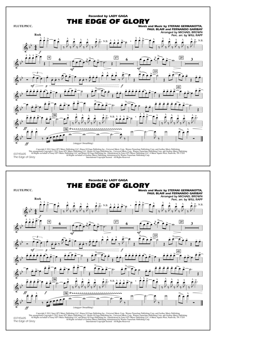 The Edge Of Glory - Flute/Piccolo