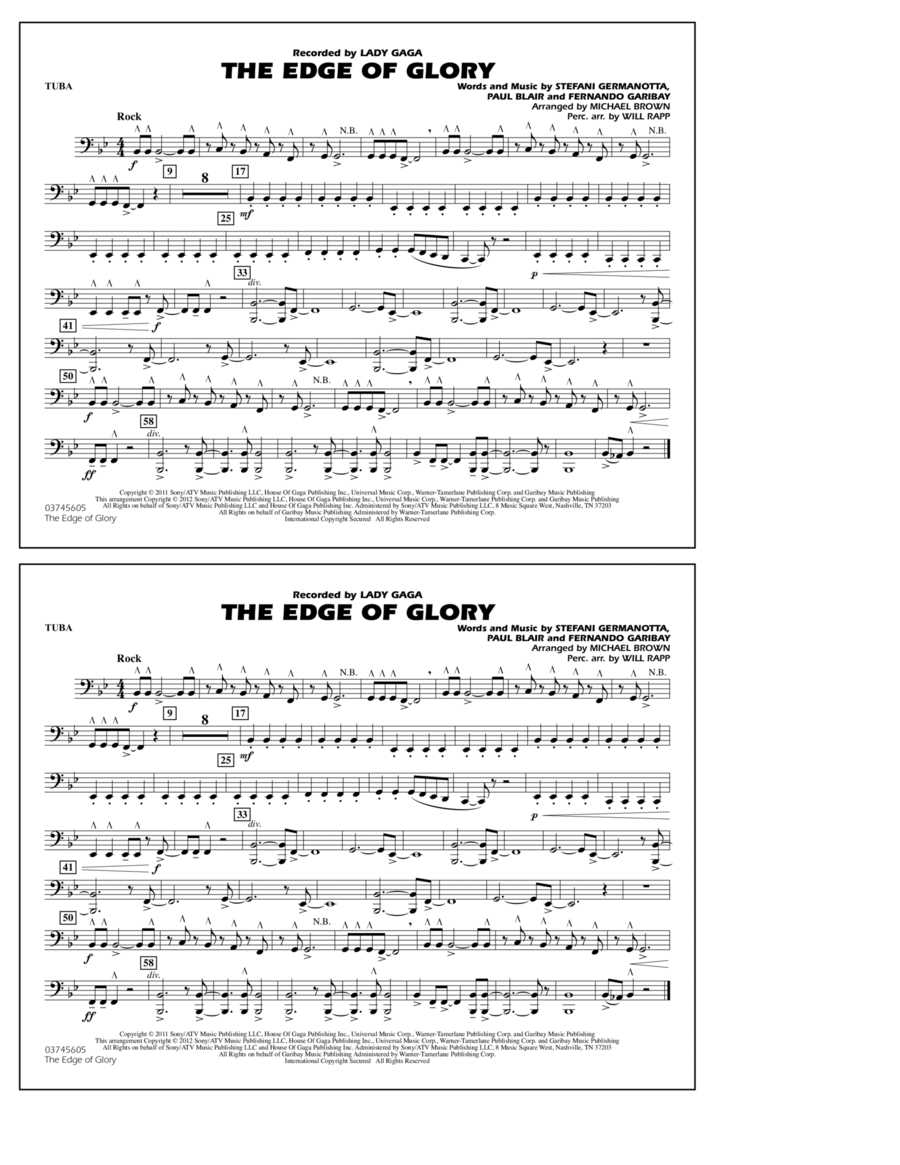 The Edge Of Glory - Tuba