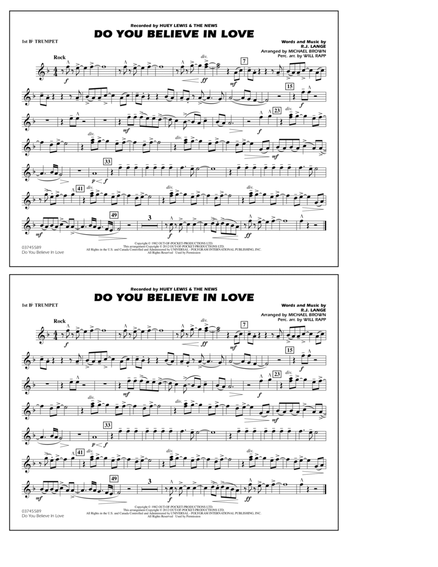 Do You Believe In Love - 1st Bb Trumpet