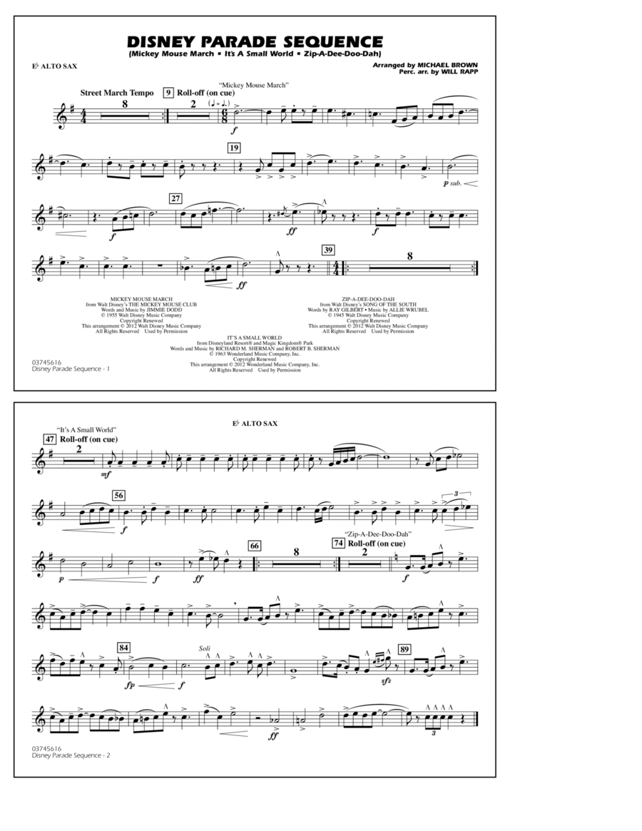 Disney Parade Sequence - Eb Alto Sax
