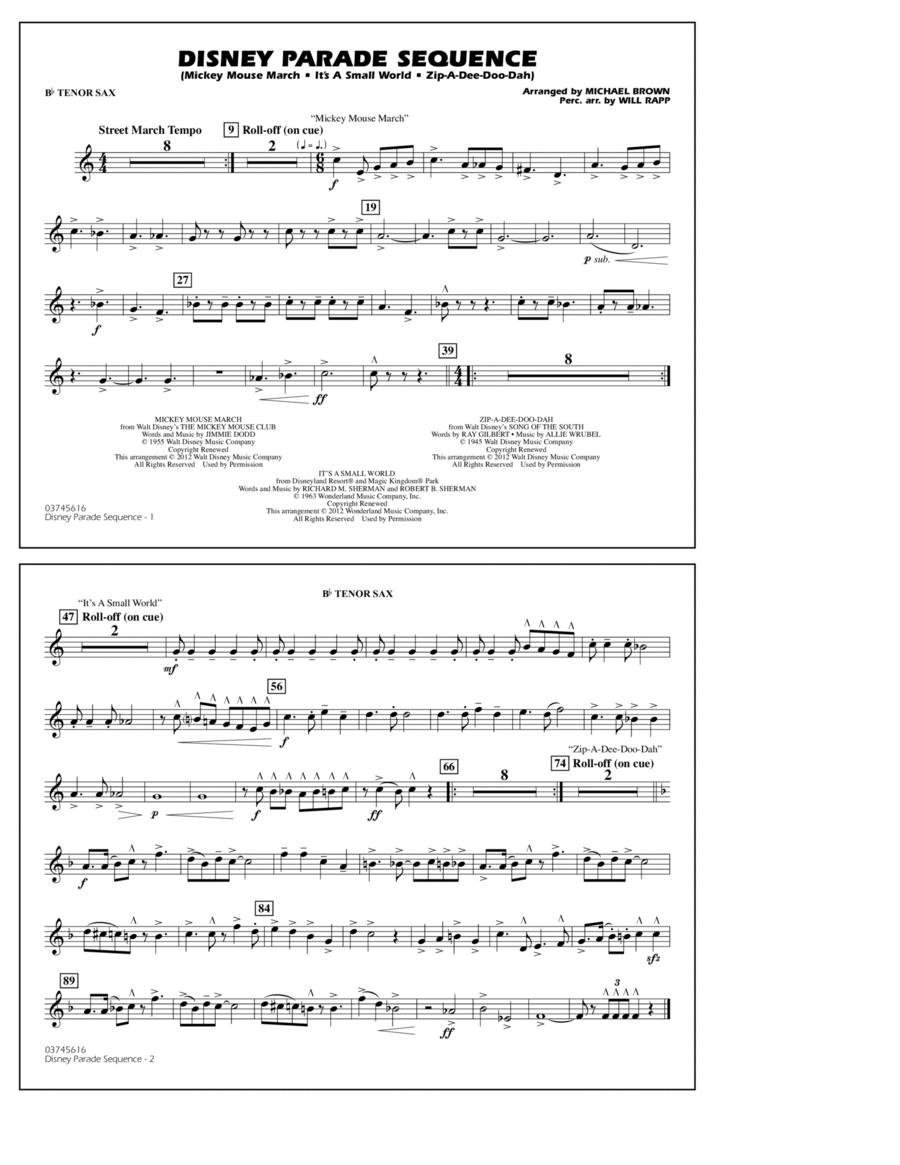 Disney Parade Sequence - Bb Tenor Sax