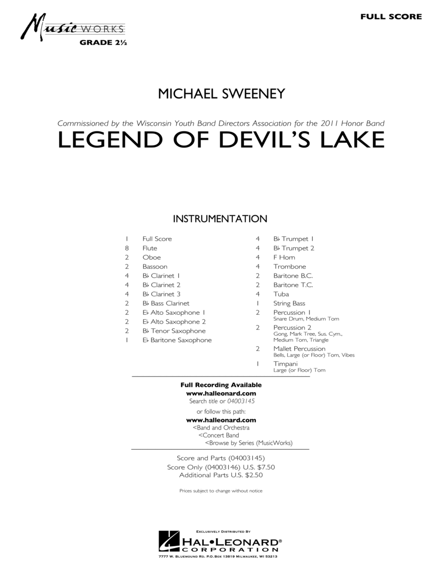Legend Of Devil's Lake - Full Score