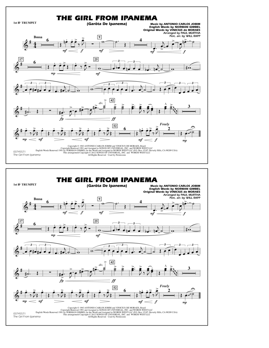 The Girl From Ipanema (Garota De Ipanema) - 1st Bb Trumpet