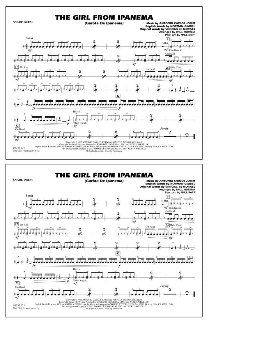 The Girl From Ipanema (Garota De Ipanema) - Snare Drum