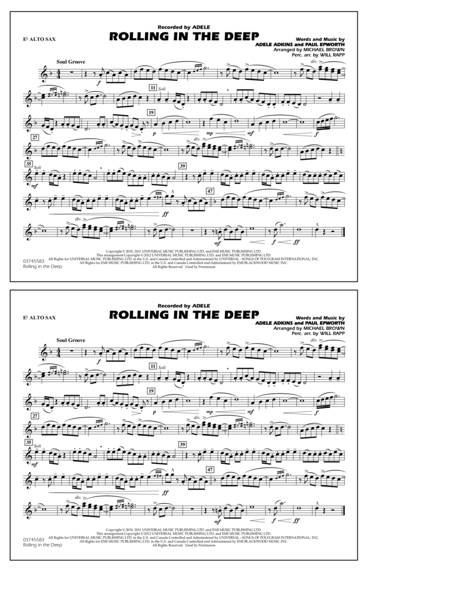 Rolling In The Deep - Eb Alto Sax