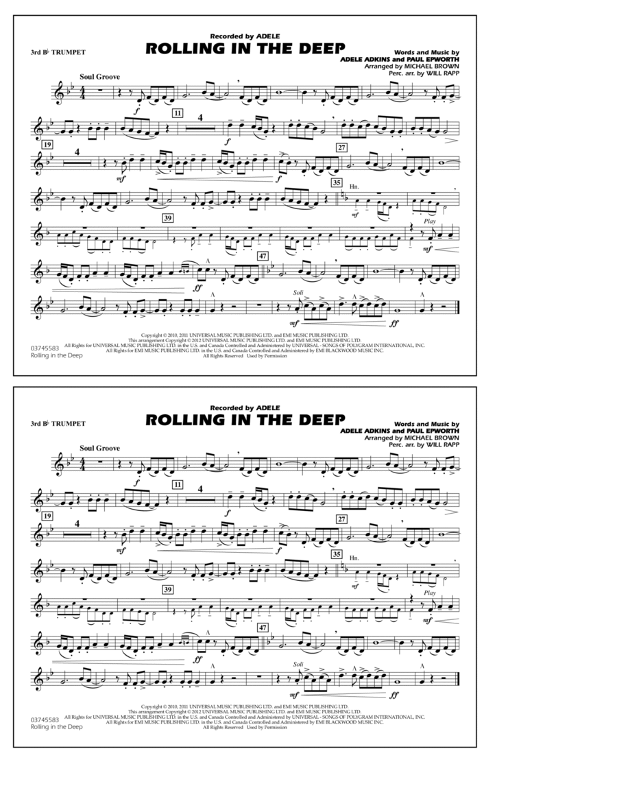 Rolling In The Deep - 3rd Bb Trumpet