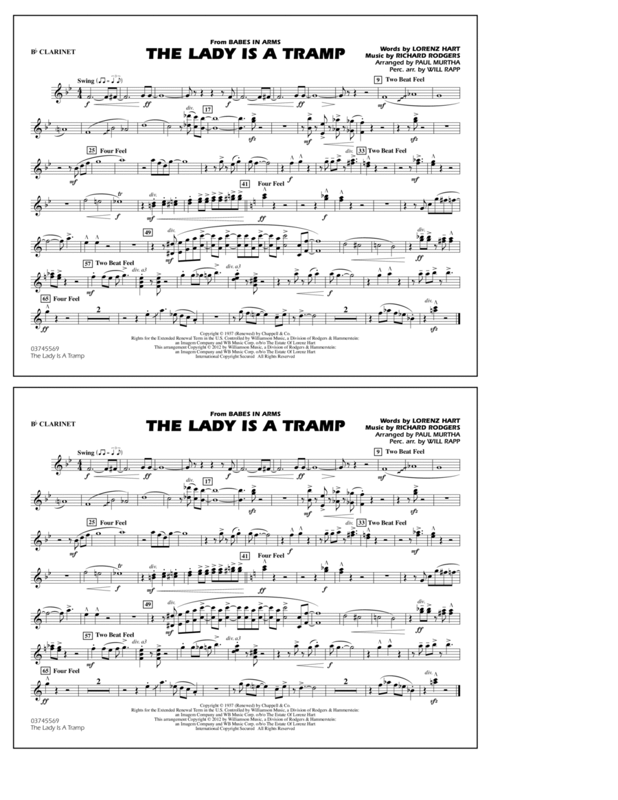 The Lady Is A Tramp - Bb Clarinet