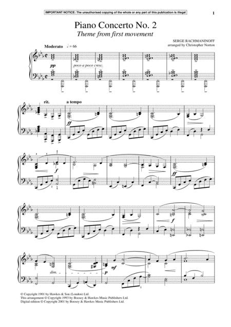 Piano Concerto No. 2, (First Movement Theme)