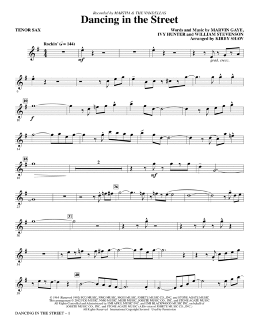 Dancing In The Street - Bb Tenor Saxophone