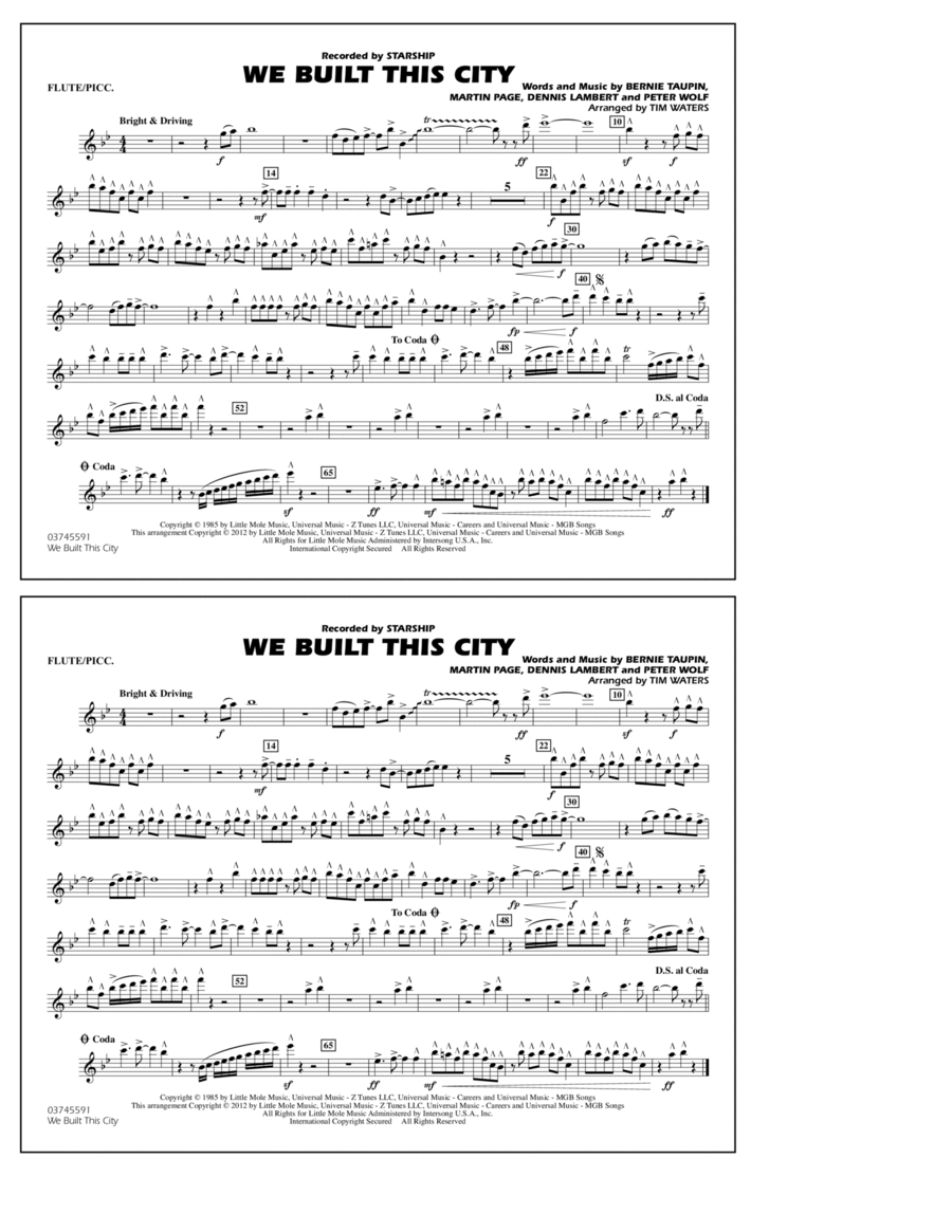 We Built This City - Flute/Piccolo