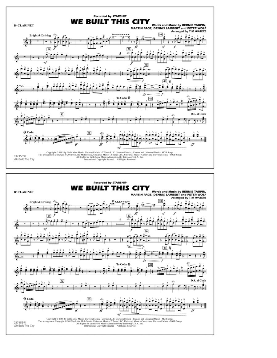 We Built This City - Bb Clarinet