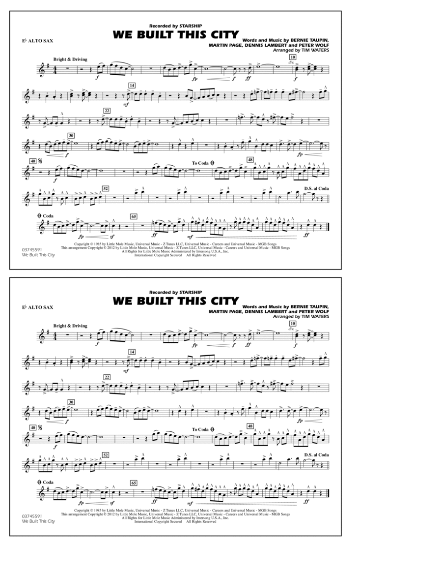 We Built This City - Eb Alto Sax