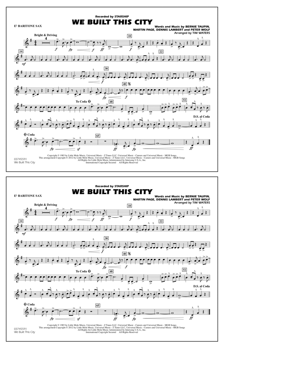 We Built This City - Eb Baritone Sax