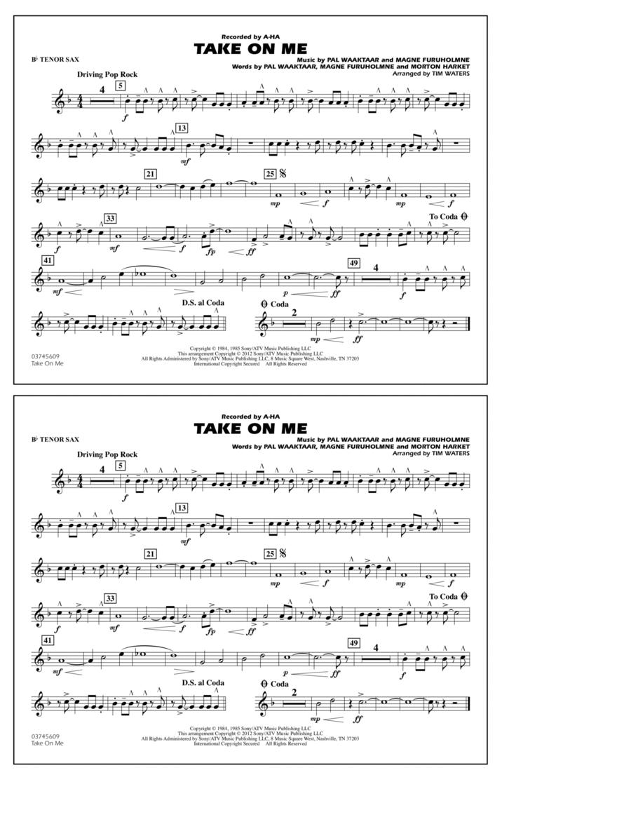 Take On Me - Bb Tenor Sax