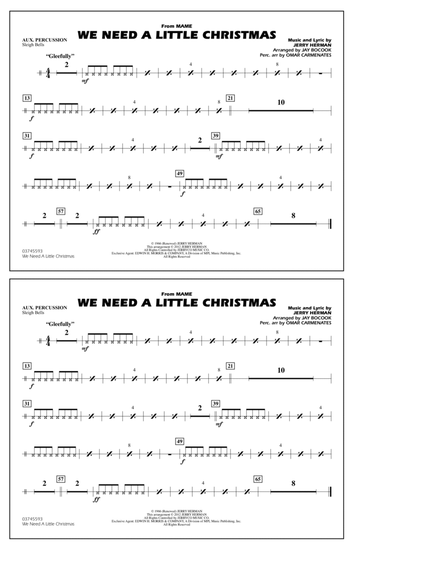 We Need A Little Christmas - Aux Percussion