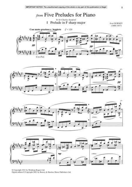 Five Preludes For Piano, I. Prelude In F-Sharp Major