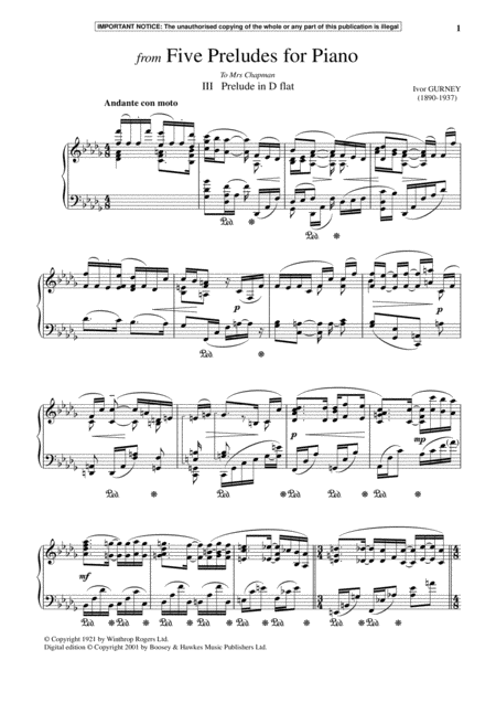 Five Preludes For Piano, III. Prelude In D-Flat