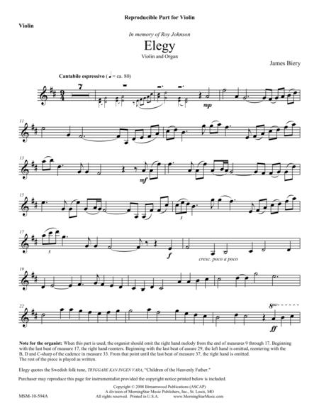 Elegy (Violin Part)