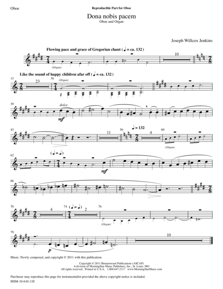 Dona nobis pacem from Six Pieces for Organ, V2 (Instrumental Parts)