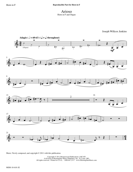 Arioso from Six Pieces for Organ, V2 (Instrumental Parts)