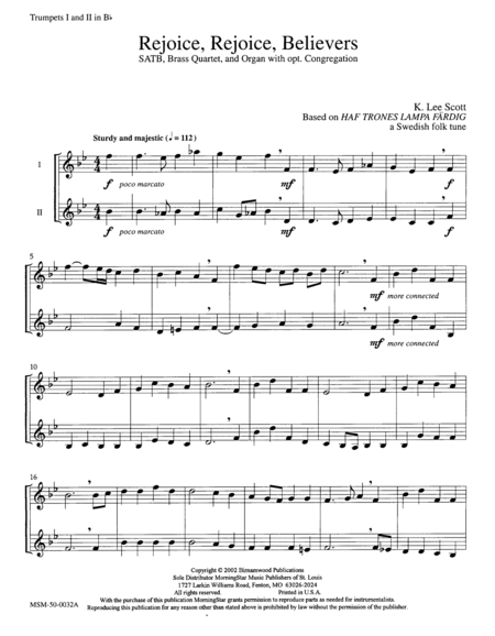 Rejoice, Rejoice, Believers  (Instrumental Parts)