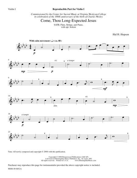 Come, Thou Long-Expected Jesus (Instrumental Parts)