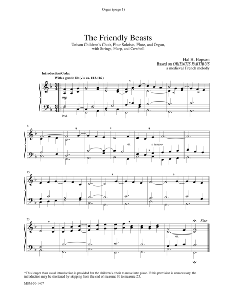 The Friendly Beasts (Instrumental Parts)
