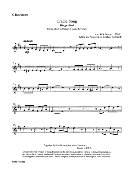 Cradle Song (Instrumental Parts)