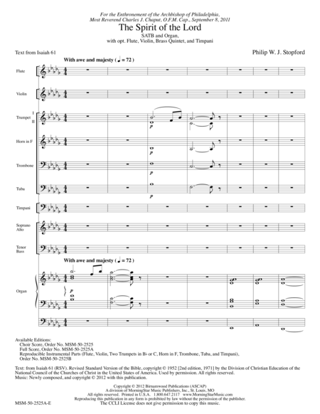 The Spirit of the Lord (Full Score)