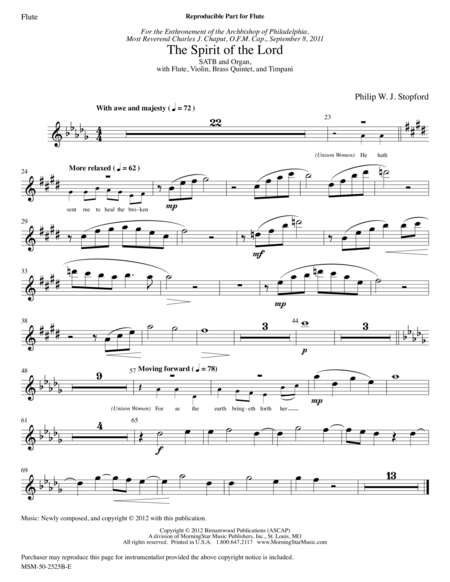 The Spirit of the Lord (Instrumental Parts)