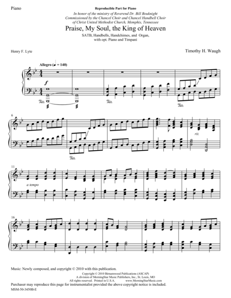 Praise, My Soul, the King of Heaven (Piano Score)