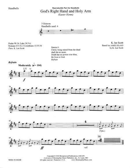 God's Right Hand and Holy Arm (Instrumental Parts)