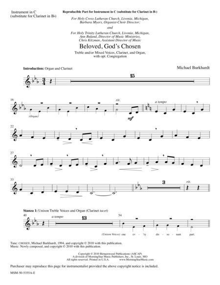 Beloved, God's Chosen (Instrumental Parts)