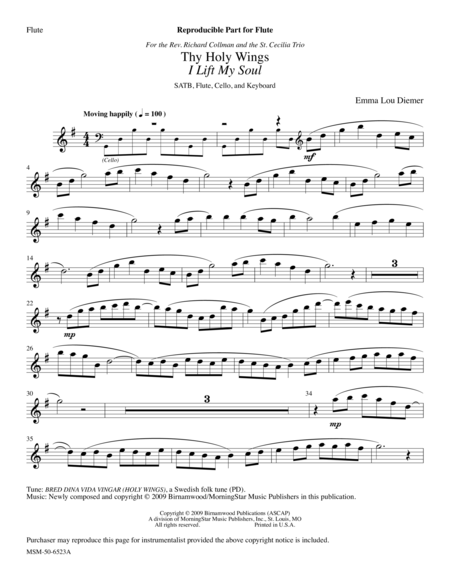 Thy Holy Wings (Flute and Cello Parts)