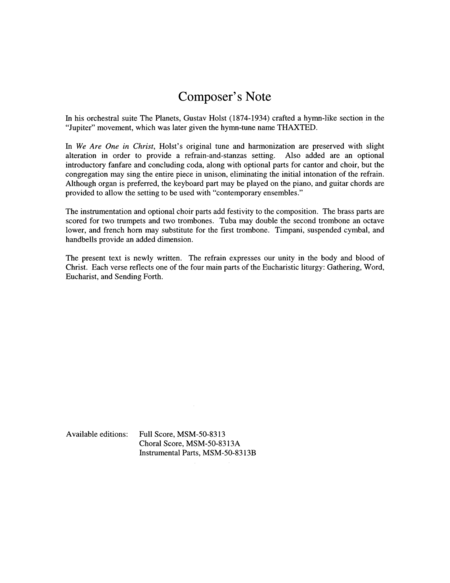 We Are One in Christ (Full Score)